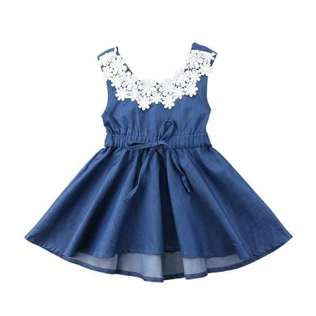Kids Baby Girls Clothes Summer Lace Floral Denim Princess Party Dress Sundress