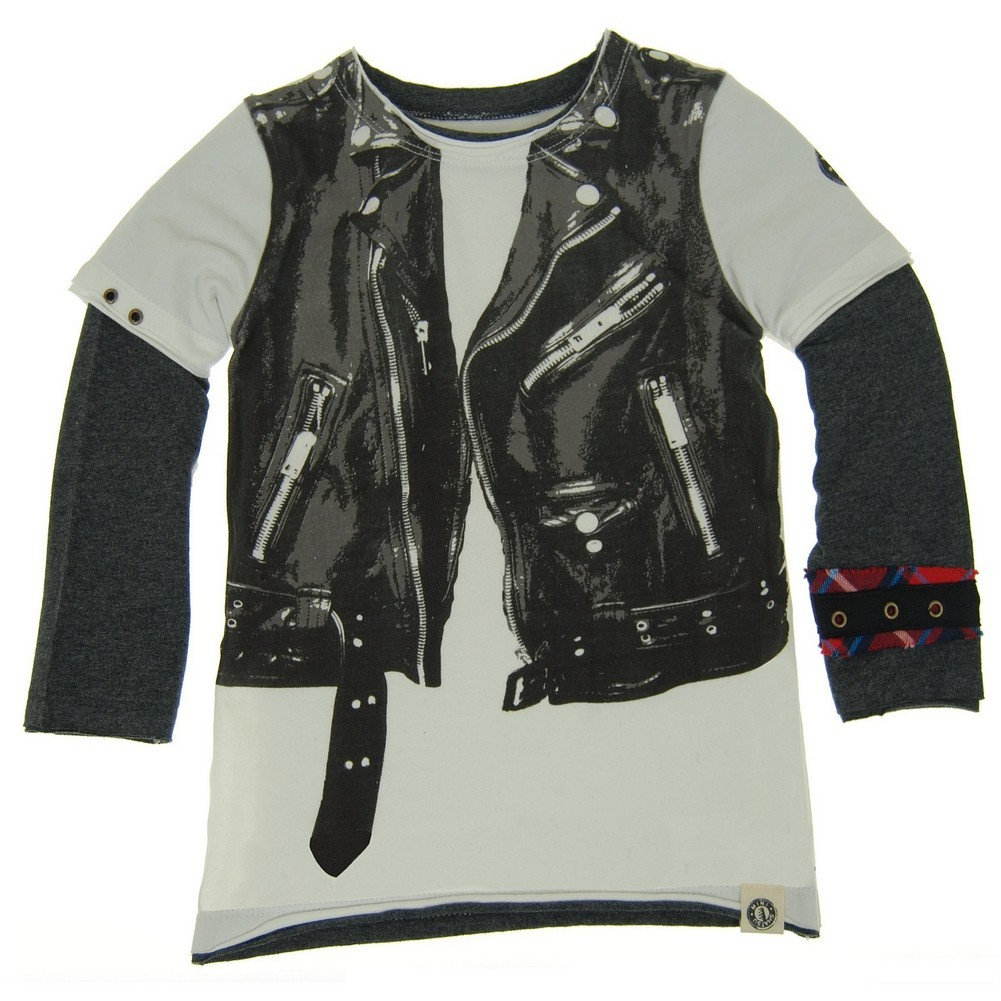 Mini Shatsu Baby Boys White Black Rock Leather Jacket Vest Twofer Shirt