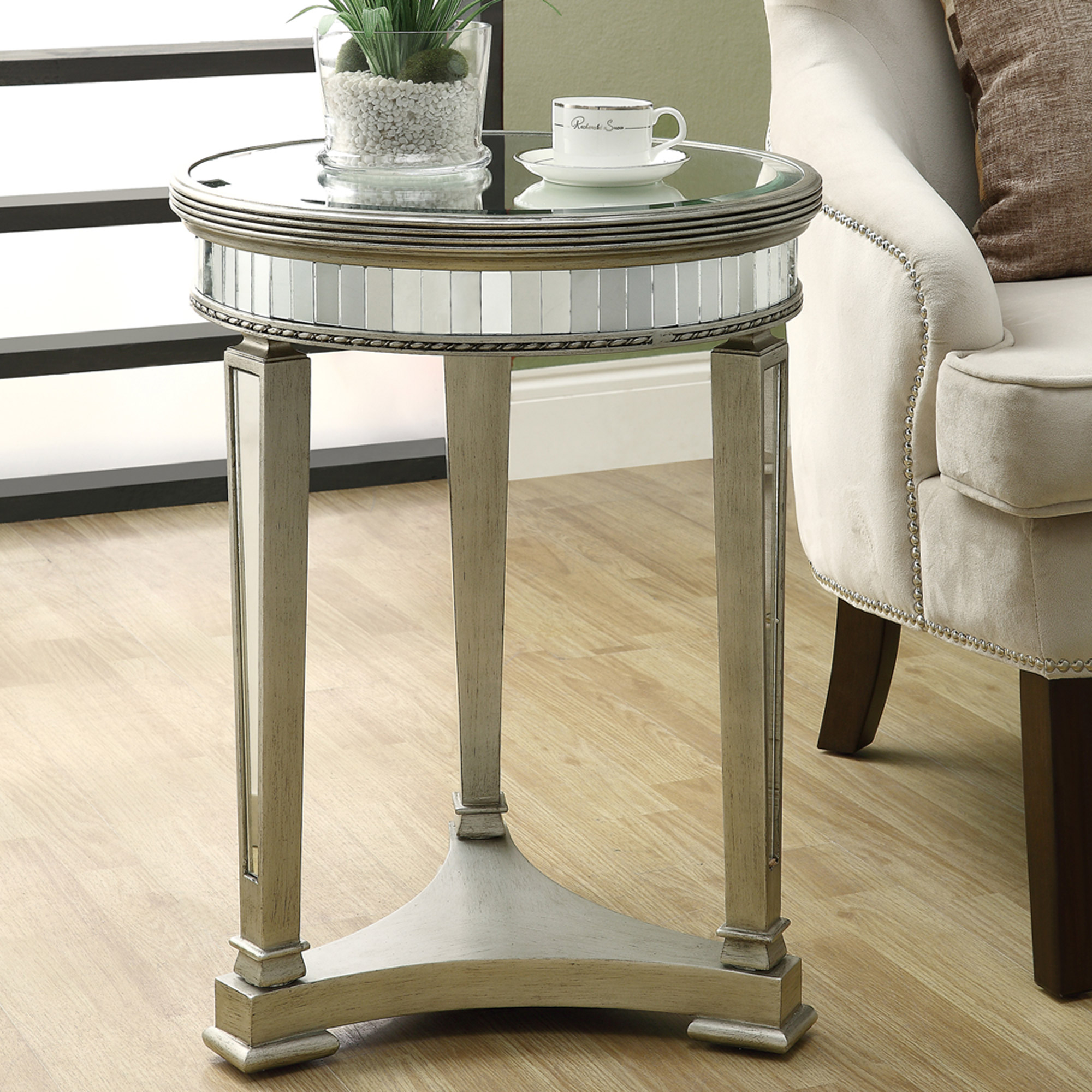 "20"" Accent Table, Brushed Silver/Mirrored"