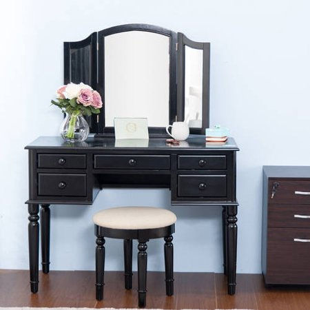 Merax Black Vanity Table Set with Mirror and Stool Make-up Dressing ...