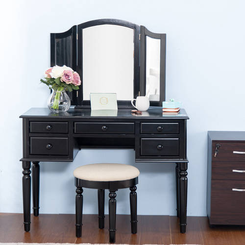 Merax Black Vanity Table Set With Mirror And Stool Make Up Dressing Table, 3