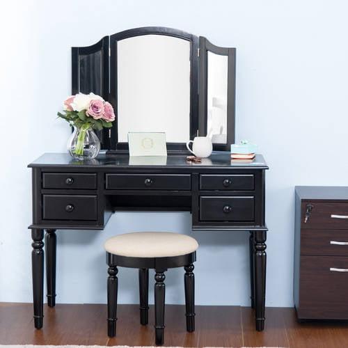 Merax Black Vanity Table Set With Mirror And Stool Make Up Dressing Table 3 Mirrors 5 Drawers Walmart Com Walmart Com