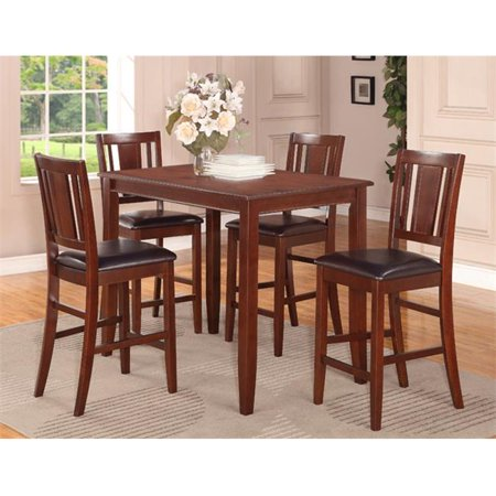 Wooden Imports Furniture BU3-MAH-LC 3 PC Buckland Counter Height Table 30 in. x 48 in. & 2 Stools with Faux Leather seat in Mahogany Finish