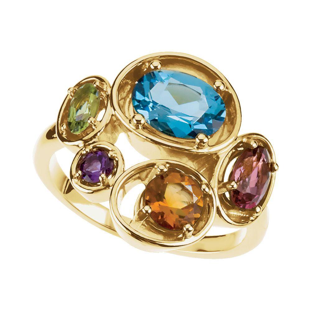 14k Yellow Ring Swiss Blue Topaz Pink Tourmaline Peridot -- Size 6.5 5.6 Grams by