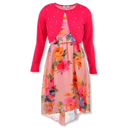 Speechless Girls' 7-16 Floral Halter Dress with Shrug Speechless Halter Skirt