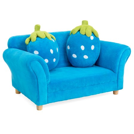 Best Choice Products 34.5in Kids Living Room Armrest Sofa Chair Lounger Set with 2 Berry Cushions,