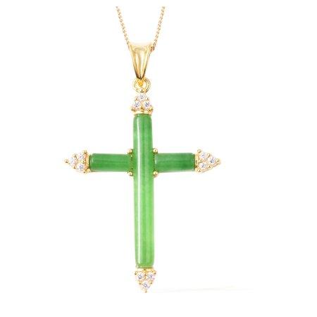 Green Jade White Zircon Cross Pendant Necklace 18