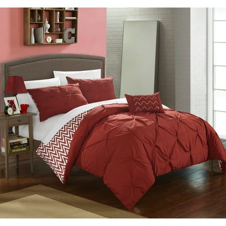 Chic Home 8-Piece Erin Pinch Pleated, REVERSIBLE Chevron Print ruffled and pleated complete Full/Queen Bed In a Bag Comforter Set Brick With sheet set ()
