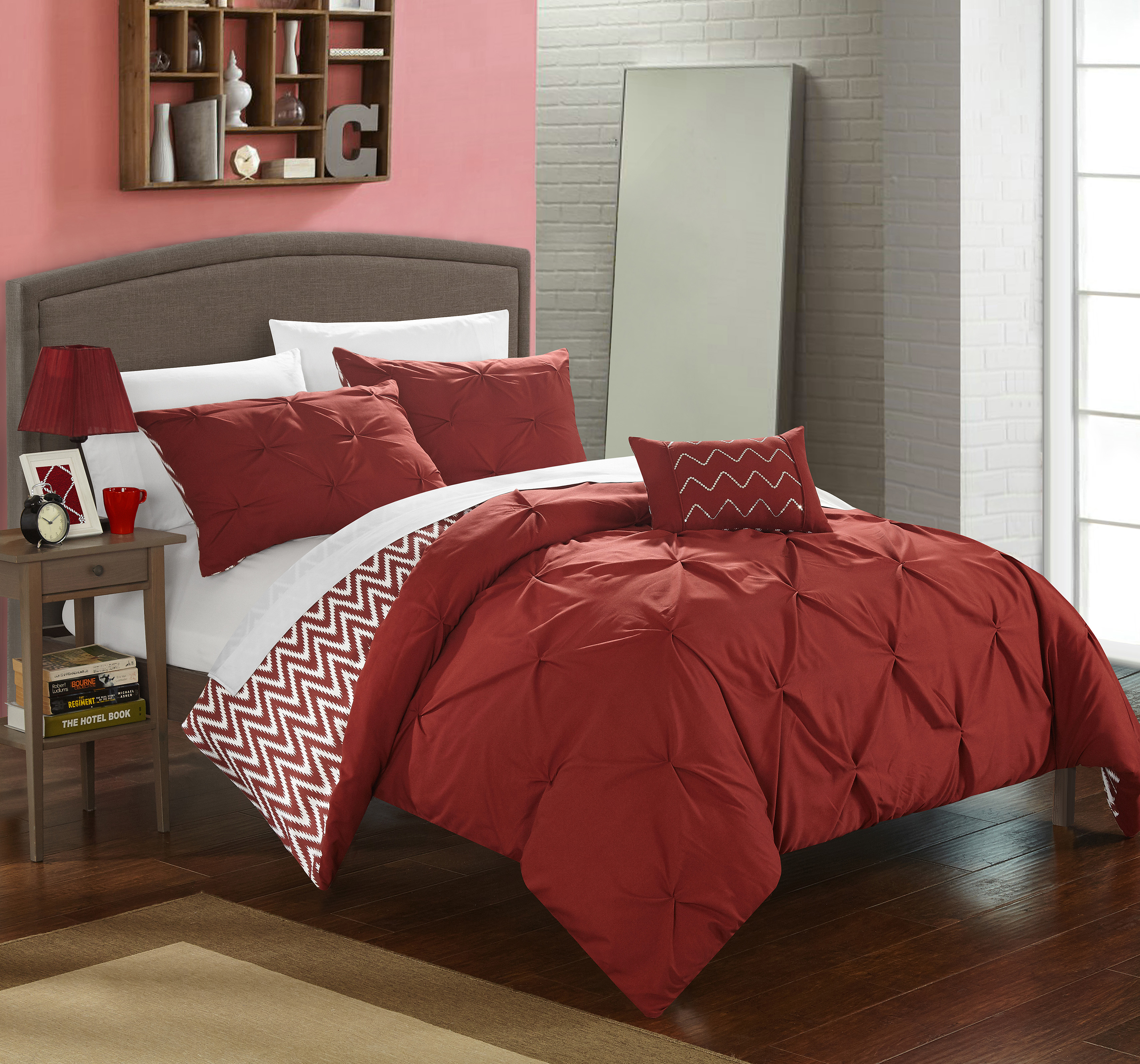 Chic Home 3-Piece Erin Pinch Pleated, REVERSIBLE Chevron Print ruffled and pleated complete Twin Comforter Set Brick Shams and Decorative Pillows included