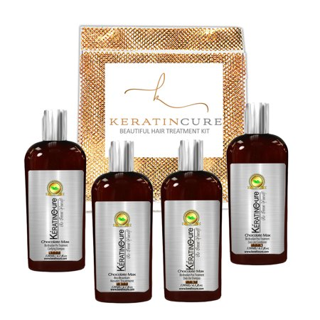 Keratin Cure Best Treatment Chocolate Max Bio Protein Silky Soft Formaldehyde Free Complex with Argan Oil Nourishing Straightening Damaged Dry Frizzy Kit (120ml/ 4 fl