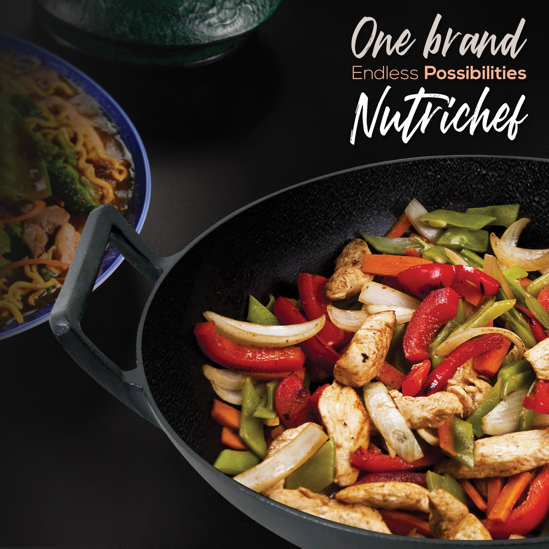 Nutrichef Pre Seasoned Cooking Wok Cast Iron Stir Fry Pan With Wooden Lid Black Walmart Com Walmart Com