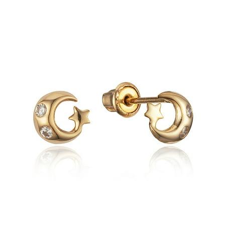 ba8dcb4d5 Lovearing - 14k Yellow Gold Moon Star Cubic Zirconia Stud Children  Screwback Baby Girls Stud Earrings - Walmart.com