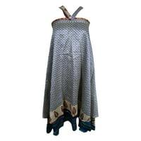 Mogul Indian Silk Sari Wrap Around Skirt Two Layer Reversible Blue Printed Boho Chic Gypsy Hippy Sarong Dress