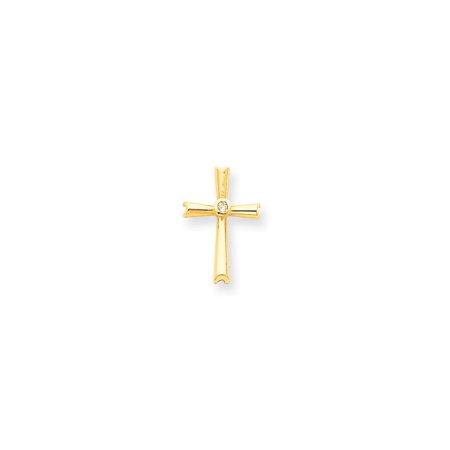 Solid 14k Yellow Gold AA Diamond Cross Pendant (14mm x 22mm) (.041ct.)