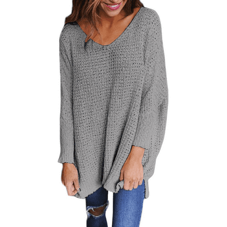 Women's Causal Knitted Long Sleeve Wrap Solid V Neck Loose Sweater Pullover Jumper Tops