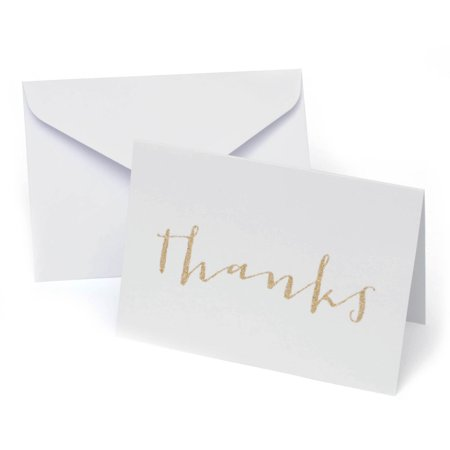 Platinum Glitter Thank You Cards  50Ct
