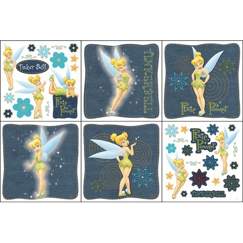 Blue Mountain Wallcoverings Denim Tinkerbell Self Stick Decorating Kit