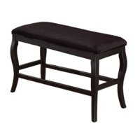 Wooden Cushioned Bench with curvy legs Black