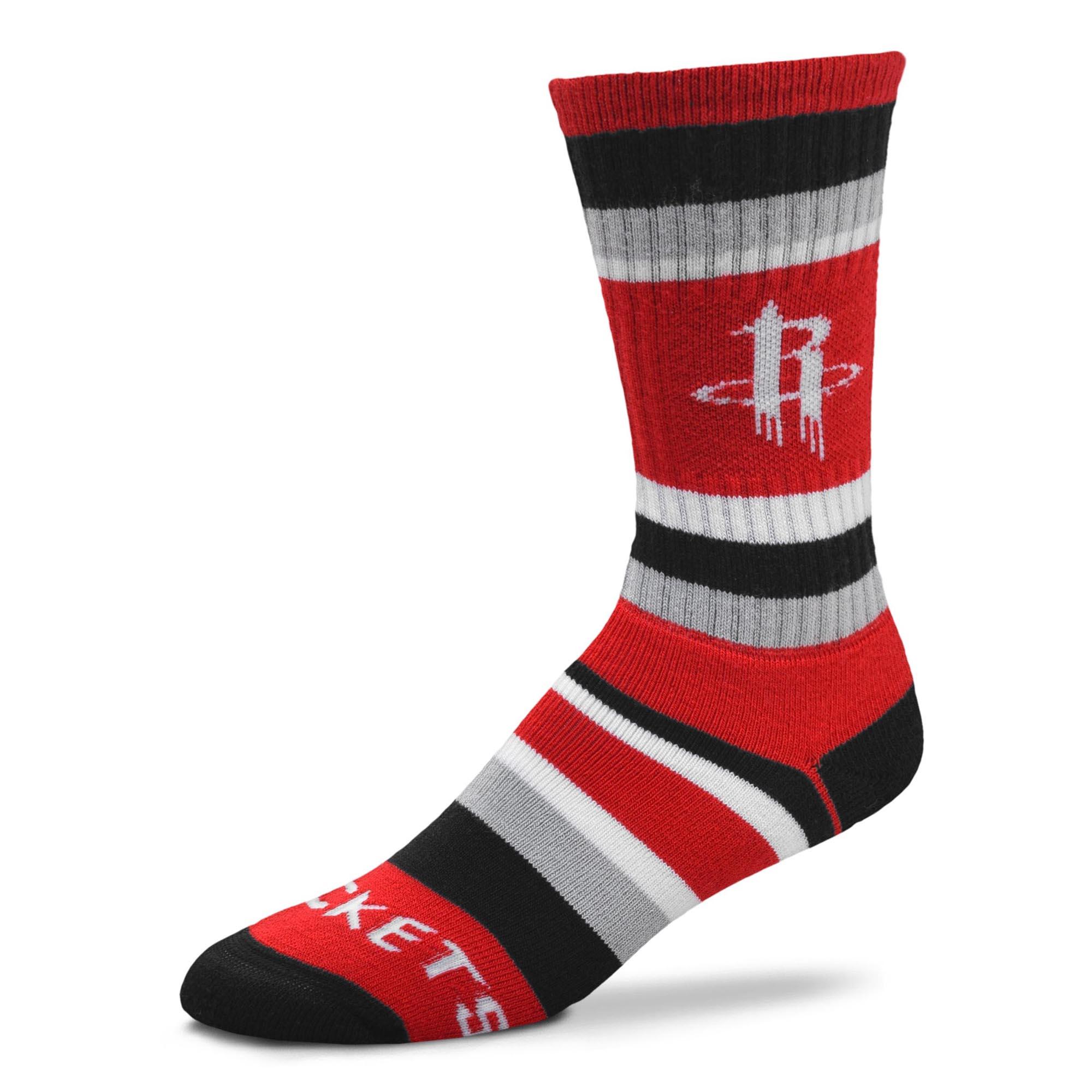 Houston Rockets For Bare Feet Rainbow Stripe Tri-Blend Crew Socks - L