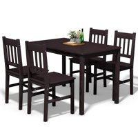 Gymax 5 Piece Dining Table Set 4 Chairs Wood Home Kitchen Breakfast Furniture
