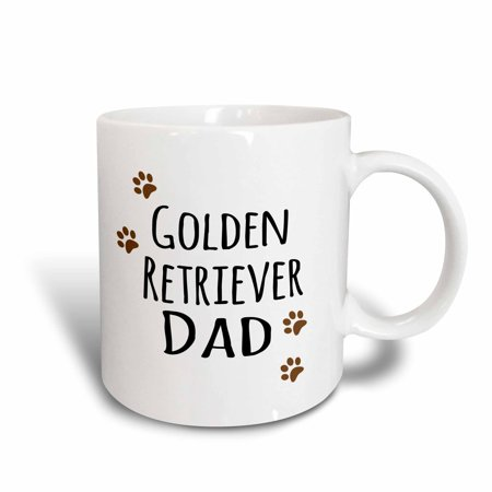 3dRose Golden Retriever Dog Dad - Doggie by breed - brown paw prints - doggy lover - proud pet owner love, Ceramic Mug, 11-ounce - Golden Retriever Stein