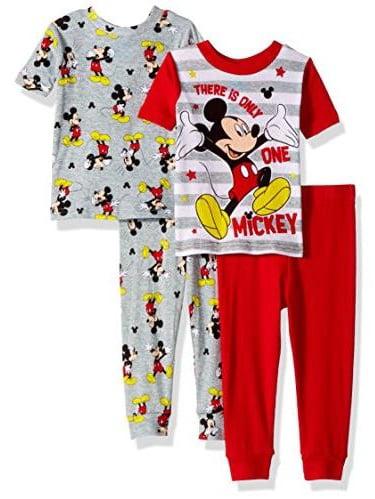 24 Months Boy/'s Disney Mickey Mouse 4-Piece Cotton Sleepwear Set