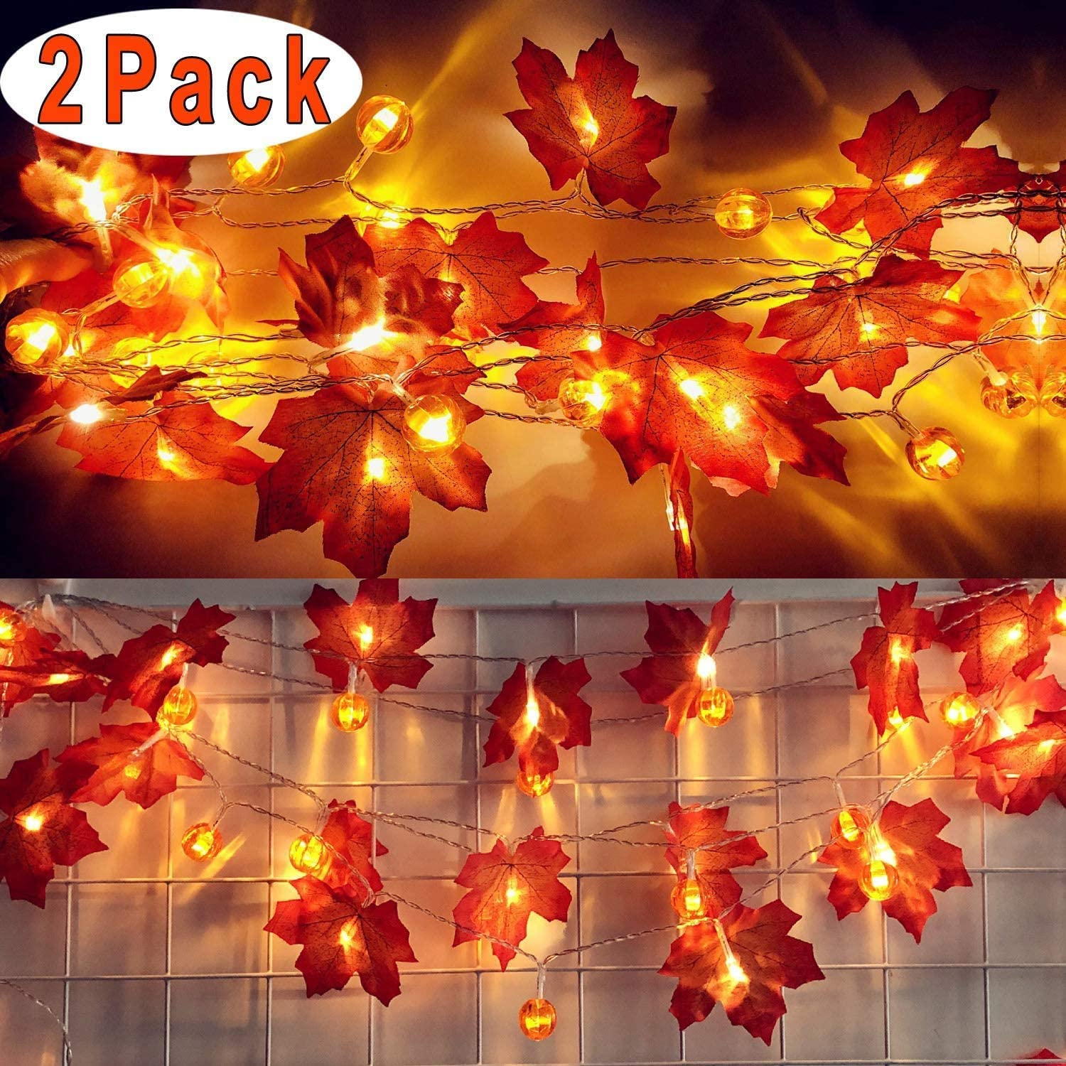 2 Pack Thanksgiving Decoration Pumpkin & Maple Leaf String Lights Halloween Fall Decoration Seasonal Light Indoor Outdoor Decor, (5 ft with 10 LED, Totally 10 ft 20 LED)
