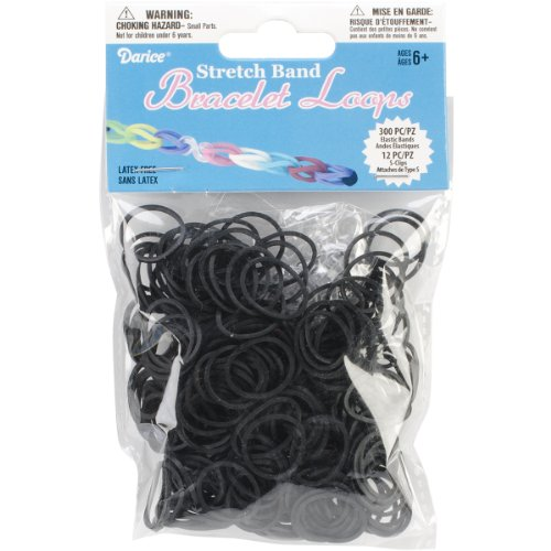 Darice Darice Stretch Band Bracelet Loops With S Clips Black