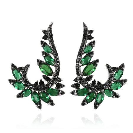 Marquee Fuchsia Glass Green Crystal Ear Silvertone Cubic Zirconia CZ Statement Ring for Women Girls Cttw 4.5