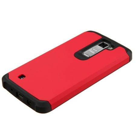 Insten Hard Hybrid Rubber Silicone Case For LG K7 K8 - Red/Black - image 2 de 4