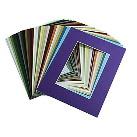 Logan Matboards - Mat Board Center, High Quality Crescent Pack of 10 11x14 MIXED COLORS White Core Picture Mats for 8x10 Photos