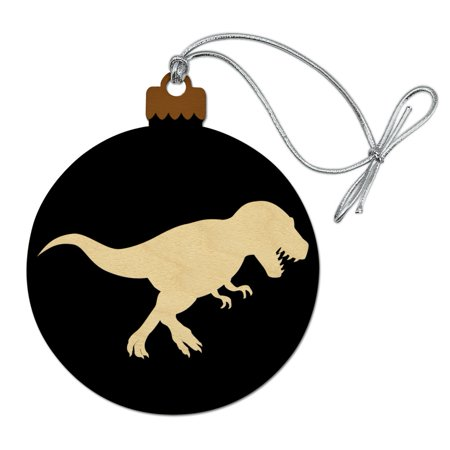 Dinosaur Tyrannosaurus Rex Black White Wood Christmas Tree Holiday Ornament
