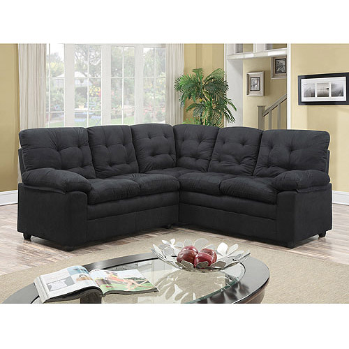 Buchannan Microfiber Corner Sectional Sofa Black