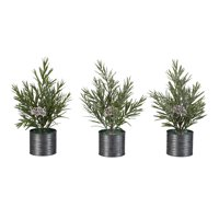 "Holiday Time Rosemary Tree with Black Metal Bucket Decorations, 10"", Set of 3"