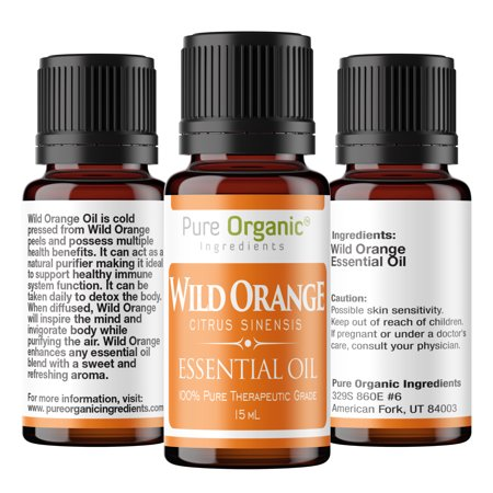 Essential Oils Gel Cleanser - Wild Orange Pure Essential Oil 15 mL by Pure Organic Ingredients, Powerful Cleanser & Purifying Agent, Supports Healthy Immune Function, Sweet Fresh Citrus Aroma, Convenient Dropper Cap Bottle