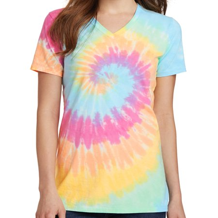 Ladies Pastel Rainbow V-neck Tie Dye Tee Shirt - 3XL