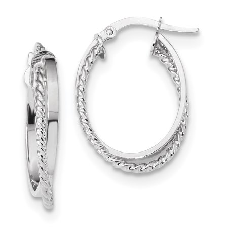 14k White Gold Textured Oval Hinged Hoop Earrings Ear Hoops Set Fine Jewelry Gifts For Women For Her - image 6 de 6