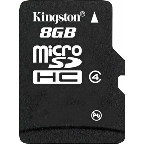 Kingston 8GB microSDHC class 4 Flash Memory Card (SD adapter included)