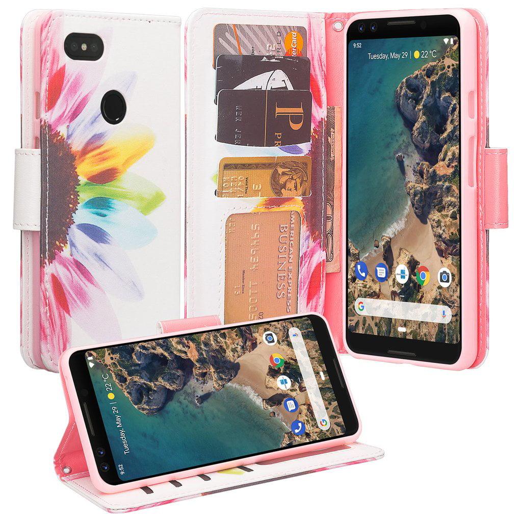 Pixel 3 XL Case, Pixel 3 XL Wallet Case, Google Pixel 3 XL PU Leather Case,Cash Credit Card Slots Holder Carrying Flip Cover & Kickstand - Sun Flower