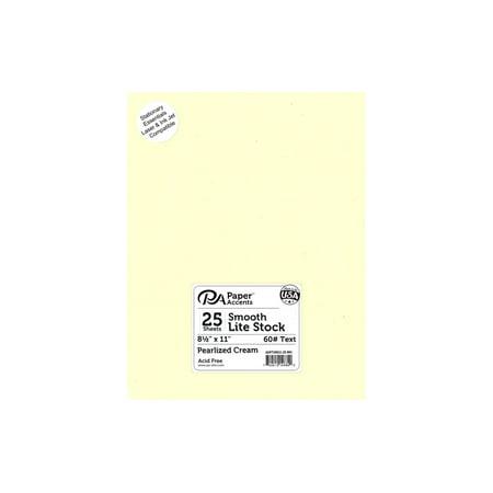 Lite Stock 8.5x11 60lb Text 25pc Pearlized Cream