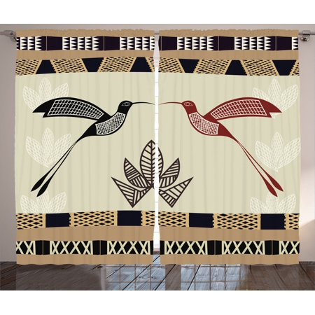 Hummingbirds Decorations Curtains 2 Panels Set, Image Of Bamboo And Hummingbirds Geometric Pattern Traditional Tribal Art, Living Room Bedroom Accessories, Gift Ideas, By - Bamboo Decorating Ideas