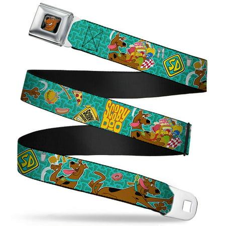 Scooby Doo Face Full Color Black Scooby Doo & Snacks Bone Monogram Blues Seatbelt Belt Standard