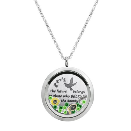The Future Belongs To Those Who Believes In The Beauty Of Their Dreams Graduate Locket Pendant Floating Charms Necklace - - Floating Locket Necklace And Floating Charms