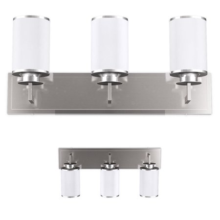 Gymax 3-Light LED Vanity Fixture Brushed Nickel Wall Sconces Lighting Bathroom