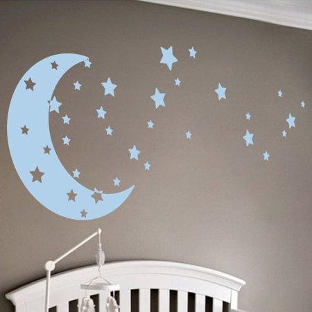The Decal Guru Moon and Stars Wall Decal