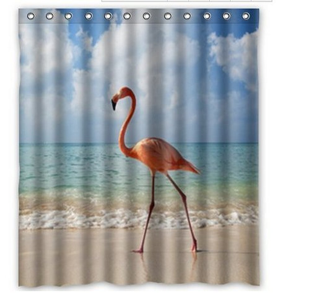 GreenDecor Flamingo Waterproof Shower Curtain Set with Hooks Bathroom Accessories Size 60x72 inches