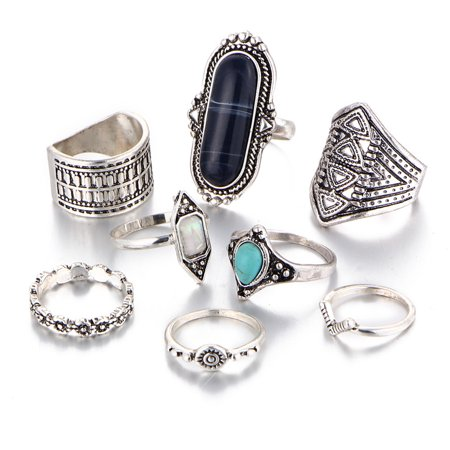 8pcs/set Joint Ring Set Retro Rings for Men Women Gemstone Knuckle Joint Ring Set