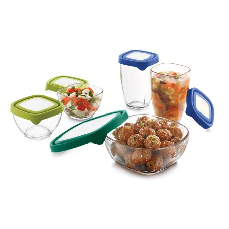 Serve Cover Set - Libbey Serve It Small Multi-Size Glass Containers with Lids, Set of 5