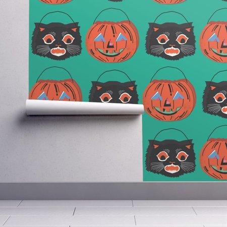Wallpaper Roll or Sample: Vintage Halloween Jack O Lantern Black Cat