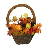 """23"""" Autumn Harvest Maple Leaf and Gourd Artificial Thanksgiving Basket Wreath"""